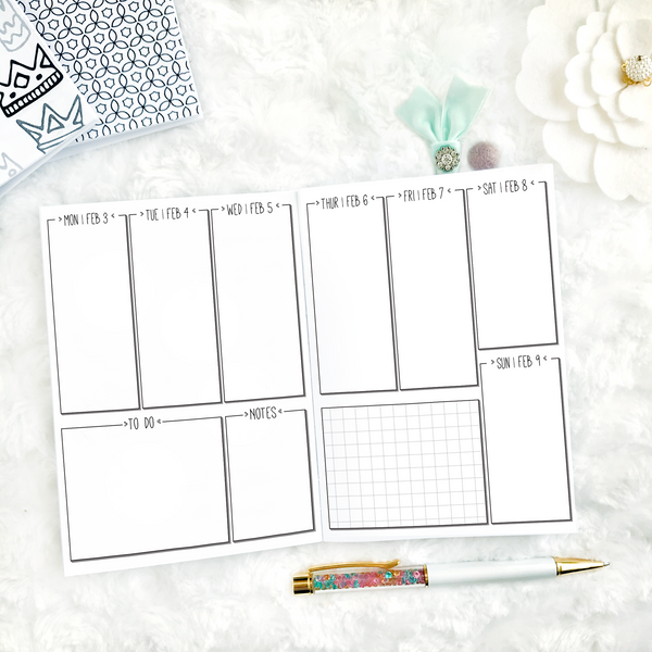 Dated Weekly Vertical Blank | Doodle | 2020 | Printed