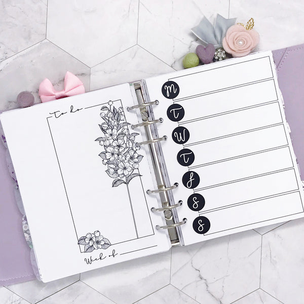 Themed Horizontal Weekly Planner - Botanical Series | Printed