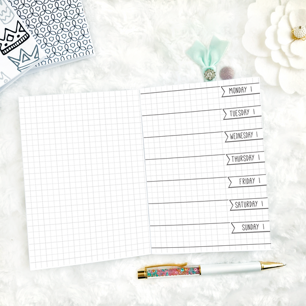 Undated Doodle Weekly Horizontal Half Graph Spread | Printable