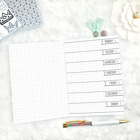 Undated Doodle Weekly Horizontal Half Graph Spread | Printed