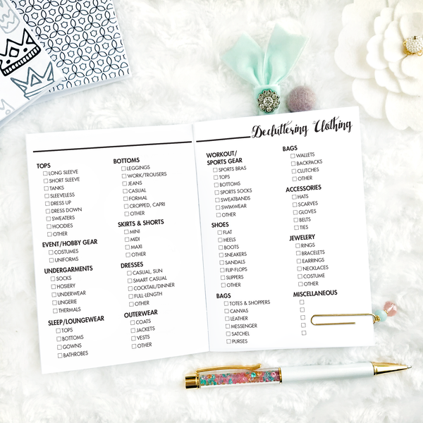 Decluttering Workbook | Printed