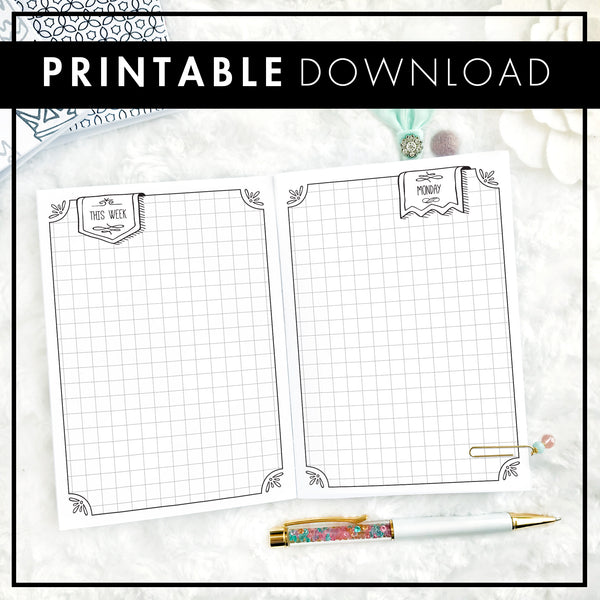 Undated Daily Doodle | Graph Boxes | Printable