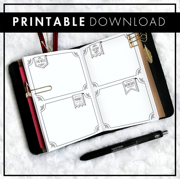 Undated Weekly Doodle WO4P Horizontal with Blank Boxes | Printable