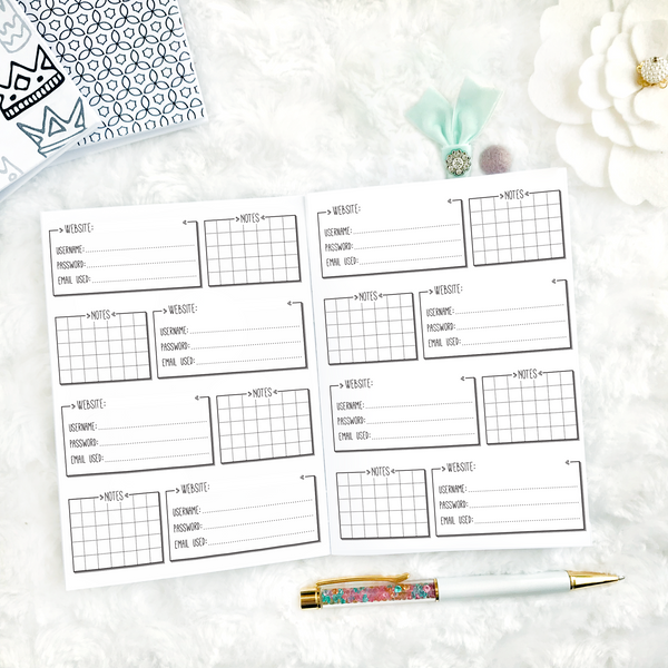 Password Tracker | Doodle Style | Printable