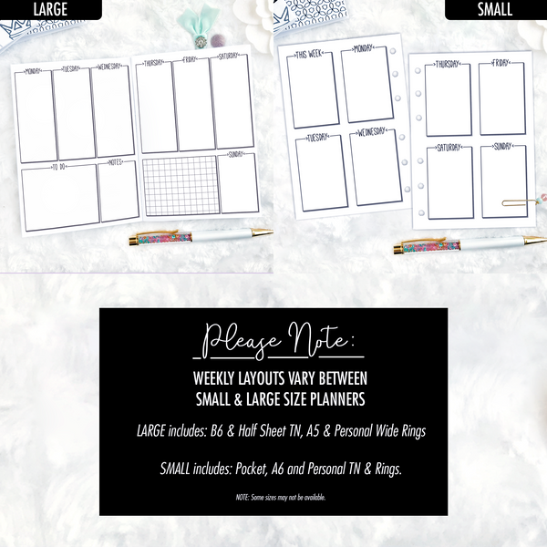 Undated Doodle V2 All Inclusive Monthly Planning Insert | Printable