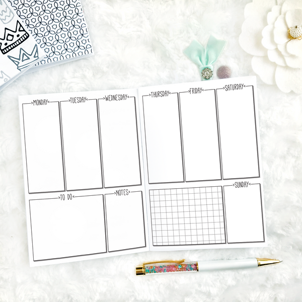 Undated Weekly Vertical | Doodle Style | Printable