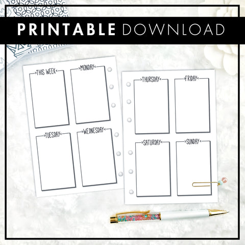 Undated Weekly Vertical WO2P | Doodle Style | Printable