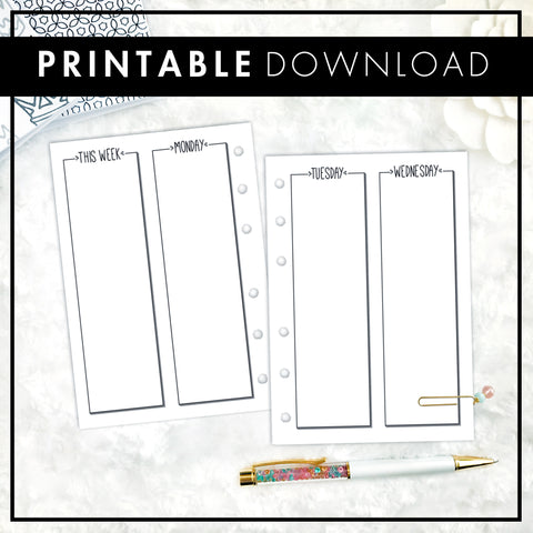 Undated Weekly Vertical WO4P Full Column | Doodle Style | Printable