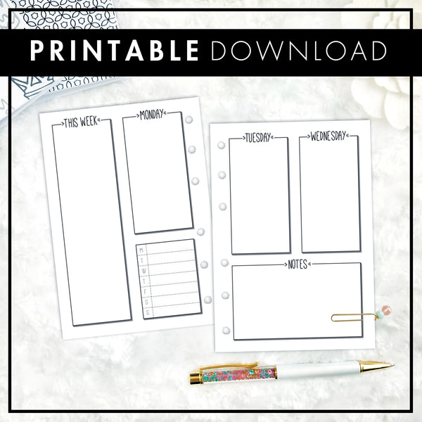 Undated Weekly Vertical WO4P Half Column | Doodle Style | Printable