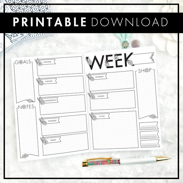Undated Floral Weekly Doodle | Printable