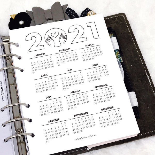 2021 Calendar | Year at a Glance | FREE Printable