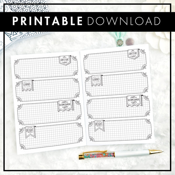 Undated Weekly Doodle WO2P Horizontal with Graph Boxes | Printable