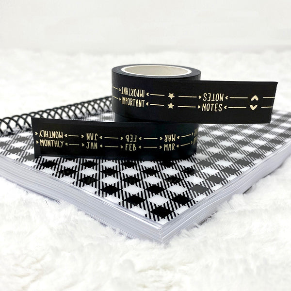 Champagne Foiled Tab Tape | Washi Tape