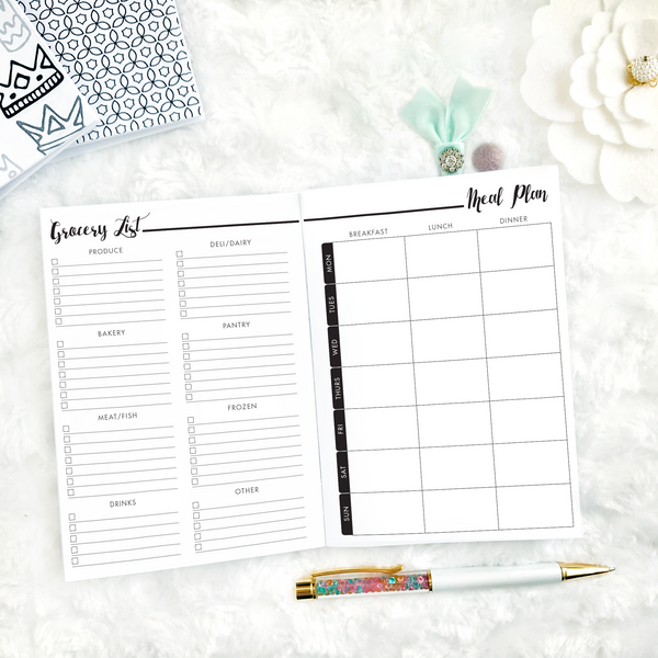 Meal Planner & Grocery List | Printed