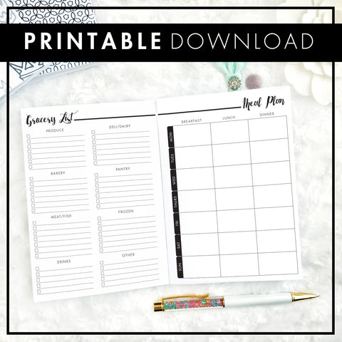 Meal Planner & Grocery List | Printable