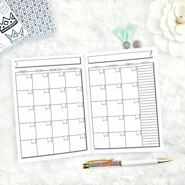 Undated Doodle Monthly | Monday Start | Printable