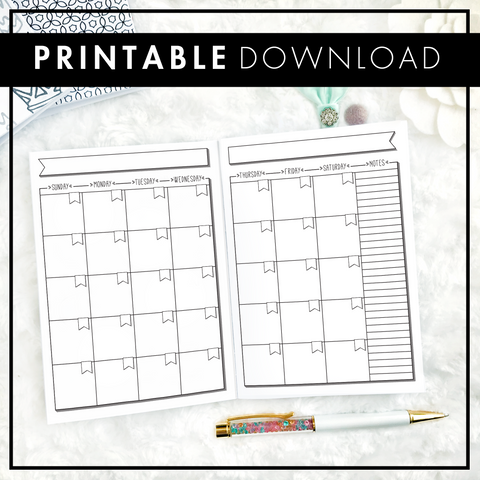Undated Doodle Monthly | Sunday Start | Printable
