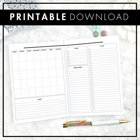 Undated Monthly Glance | Sunday Start | Printable