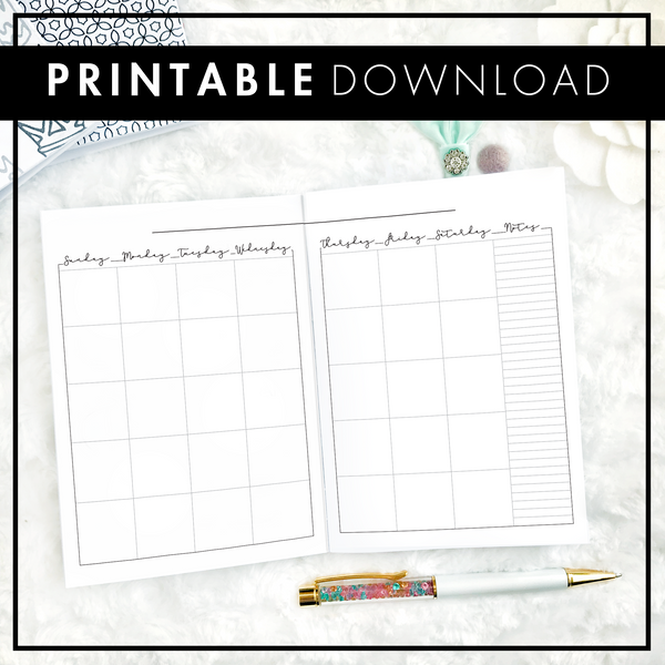 Undated Script Monthly | Sunday Start | Printable