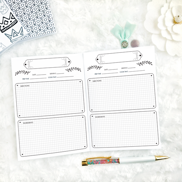Recipe Log with Graph Boxes | Printed