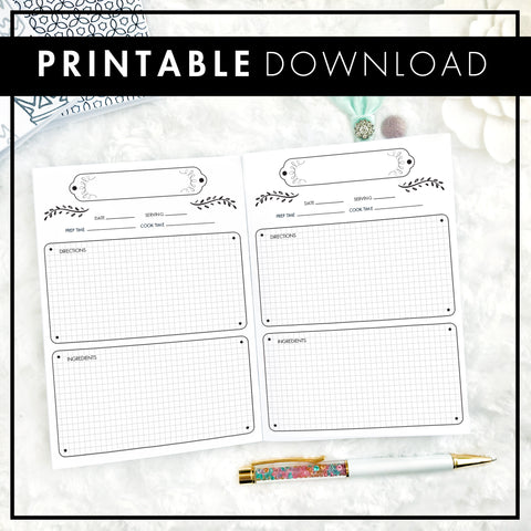 Recipe Log with Graph Boxes | Printable