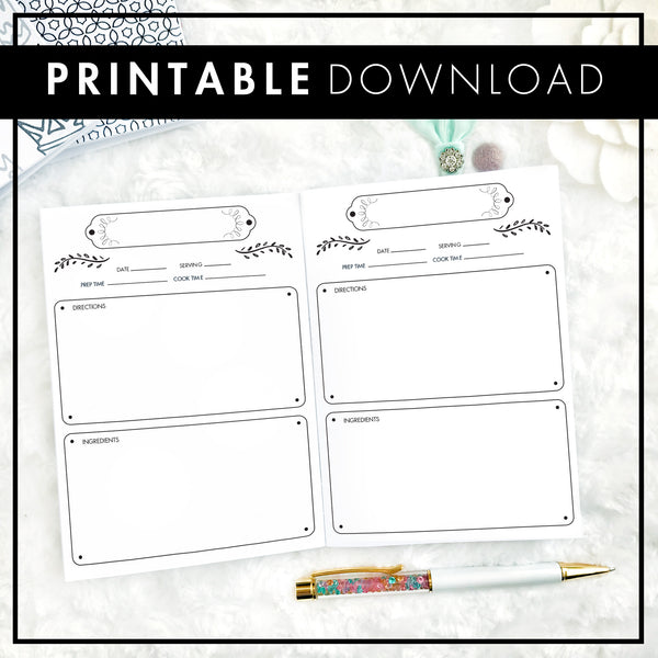 Recipe Log | Printable