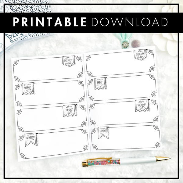 Undated Weekly Doodle WO2P Horizontal with Blank Boxes | Printable