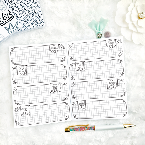 Undated Weekly Doodle WO2P Horizontal with Graph Boxes | Printed