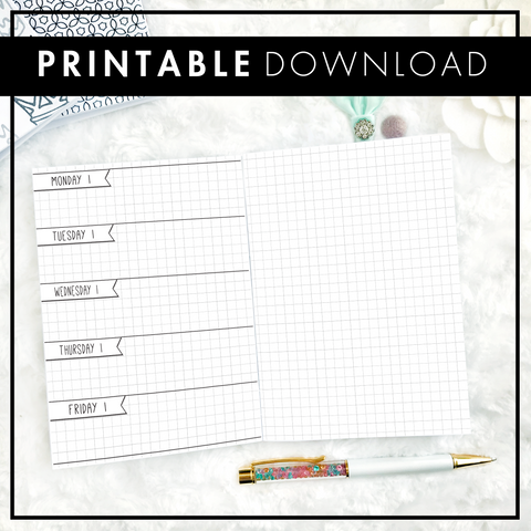 Undated Doodle Weekly Horizontal - Monday-Friday Only - Half Graph Spread | Printable