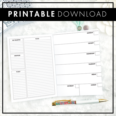 Undated Weekly Horizontal Half Box Spread | Printable