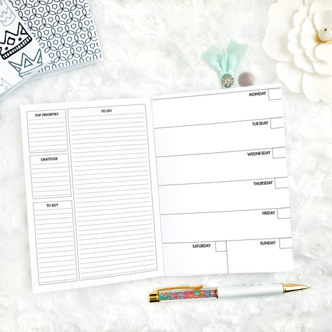 Undated Weekly Horizontal Half Box Spread | Printed