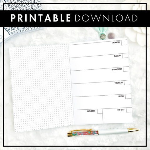 Undated Weekly Horizontal Half Grid Spread | Printable