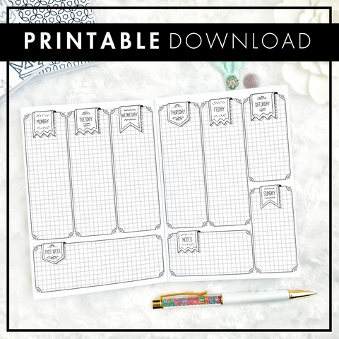 Undated Weekly Doodle Vertical with Graph Boxes | Printable