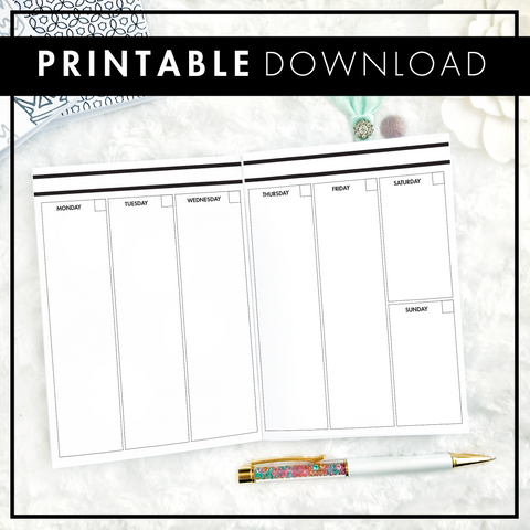 Undated Weekly Vertical Full Column | Printable