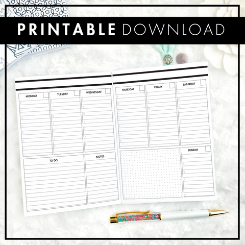 Undated Weekly Vertical Lined & Timed | Printable