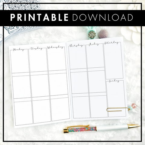 Weekly Vertical Box Column | Script Headers | Printable