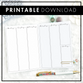 Weekly Vertical Full Column | Blank Column | Script Headers | Printable