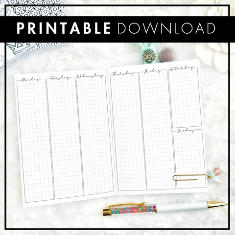 Weekly Vertical Full Column | Graph Column | Script Headers | Printable
