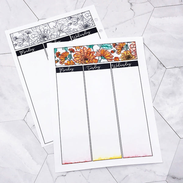 Themed Vertical Weekly Planner - Botanical Series | Printed