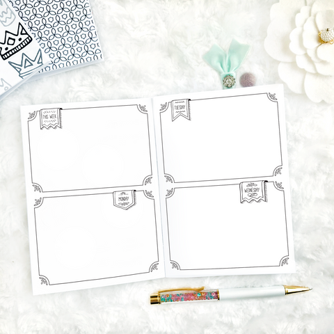 Undated Weekly Doodle WO4P Horizontal with Blank Boxes | Printed