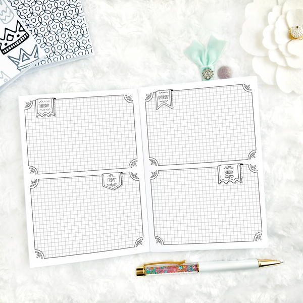 Undated Weekly Doodle WO4P Horizontal with Graph Boxes | Printable