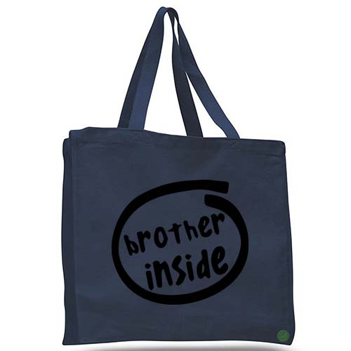 brother inside tote bag
