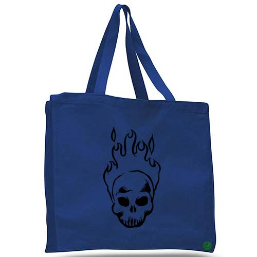 burning skull tote bag