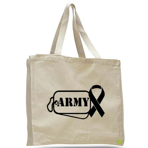 army dog tag ribbon tote bag