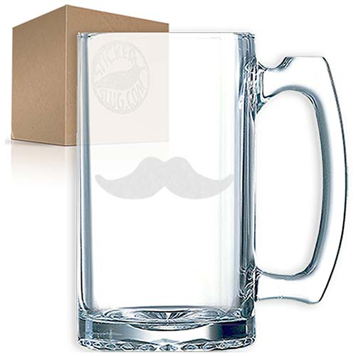 mustache engraved etched beer mug