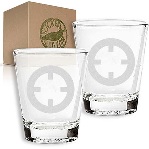 bullseye engraved etched shot glass set