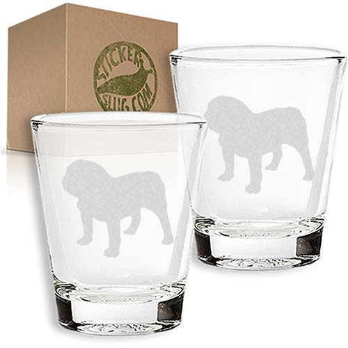 bulldog dog engraved etched shot glass set