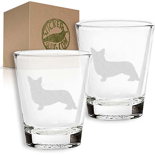 cardigan welsh corgi dog engraved etched shot glass set