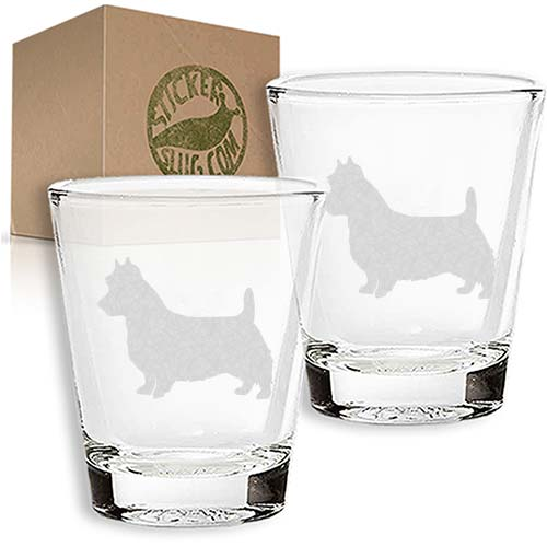 australian terrier dog engraved etched shot glass set
