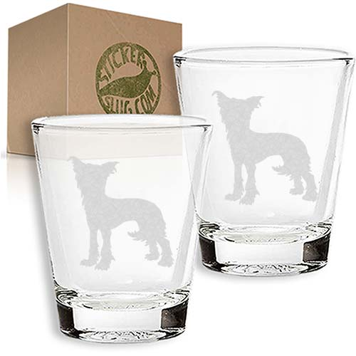 chinese crested dog engraved etched shot glass set